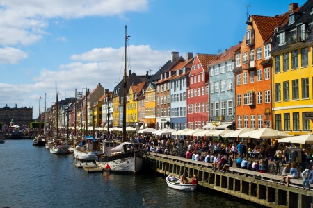 Nyhavn in Copenhagen, Denmark - one of the most popular tourist places of the Danish capital.