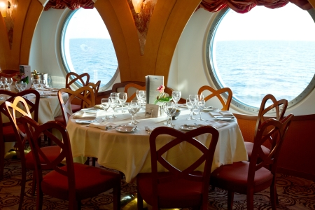 restaurant on board a cruise ship ready for dinner