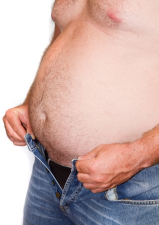 big belly: Fat man with a big belly. Diet.  Stock Photo