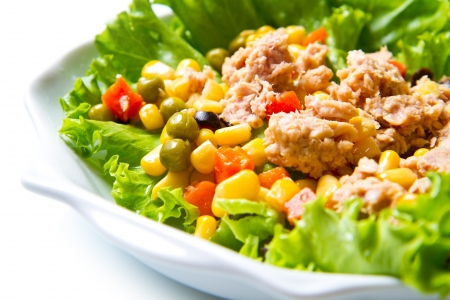tuna salad: tuna salad with mais on white shell dish isolated on white