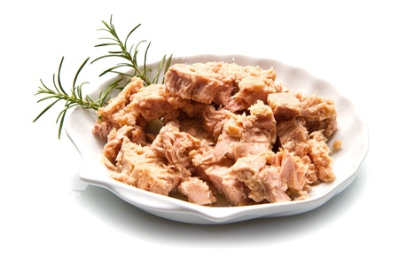 canned meat: tuna fish in oil, canned food isolated on white Stock Photo