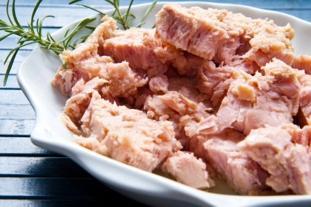 canned meat: tuna fish in oil, canned food.  Stock Photo