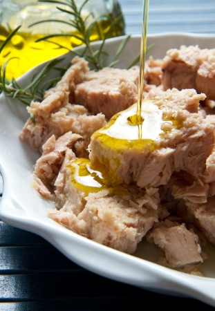 can food: tuna fish in oil, canned food.  Stock Photo