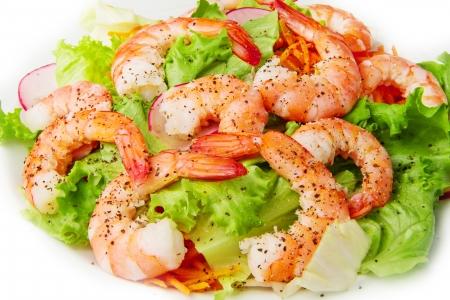 salad of shrimp, mixed greens