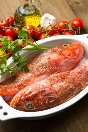 redfish: Redfish with tomatoes, parsley, garlic and olve oil