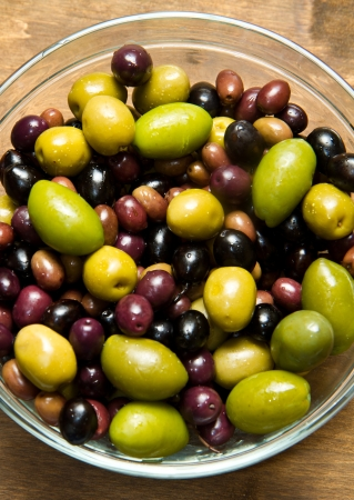 different kind of green and black olives  photo