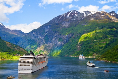 lifeboats: Cruise ship in Norwegian fjords