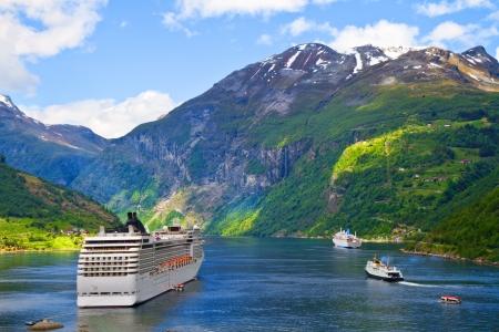 cruise ship: Cruise ship in Norwegian fjords