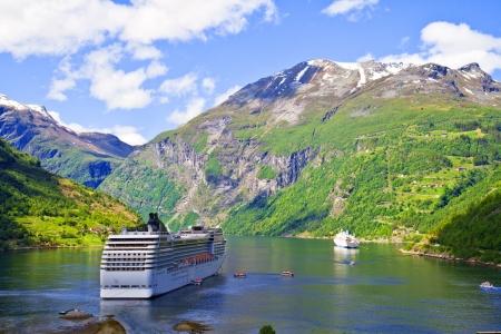 fjords: Cruise ship in Norwegian fjords