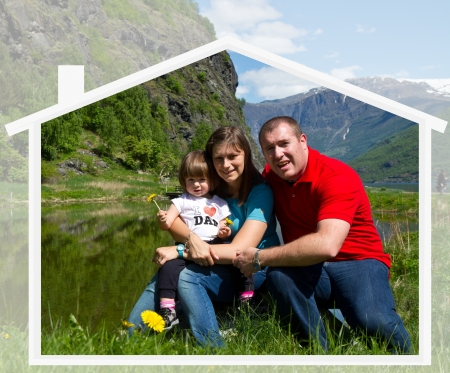 happy family spends time together on nature photo