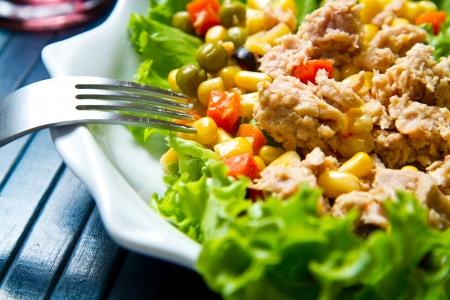 mais: tuna salad with mais on white shell dish Stock Photo