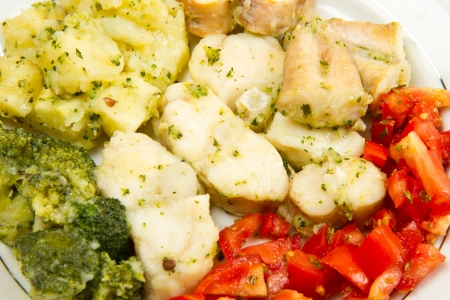 potato cod: tasty healthy monkfish  with vegetables