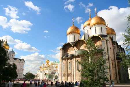 Breathtaking Famous The Annunciation Cathedral and The Archangel Cathedral in Moscow Kremlin, Russia