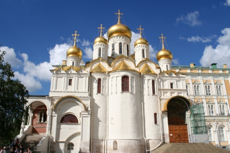 assumption: Breathtaking Famous The Annunciation Cathedral and The Archangel Cathedral in Moscow Kremlin, Russia