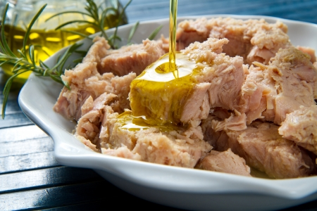 tuna fish in oil, canned food isolated  photo
