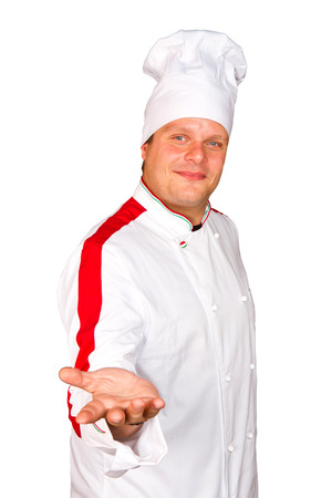 Smiling chef  Isolated over white Gourmet   photo