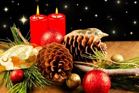 pine cone: Candela di Natale con pigna Archivio Fotografico
