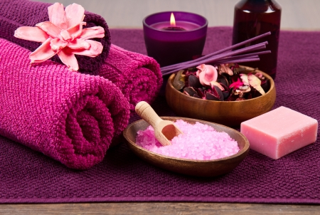 pink Spa tools with candle amd towel Stock Photo