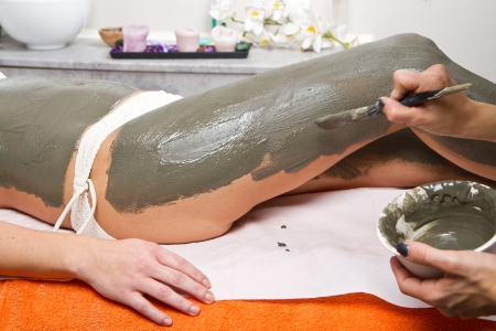 wellness center: mud treatment Stock Photo