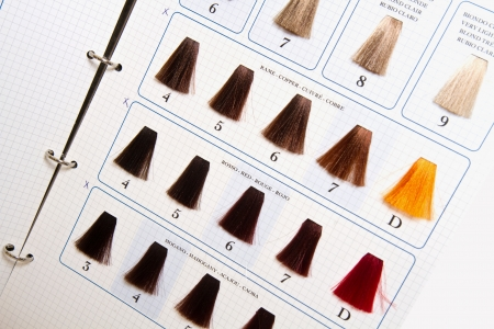 tresses: Locks of hair dyed in various shade
