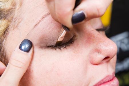 Make-up artist  applying eyebrow make-up Stock Photo - 24140141