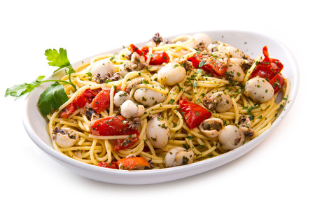 spaghetti with cuttlefish and tomatoes photo