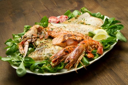 bream: mixed seafood grill  Stock Photo