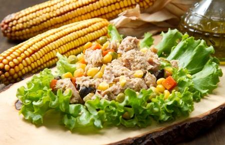mais: tuna salad with mais Stock Photo