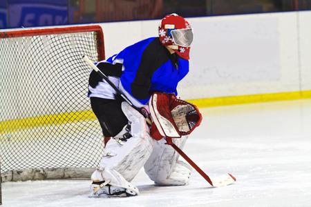 ice hockey: ice hockey goalie  Stock Photo