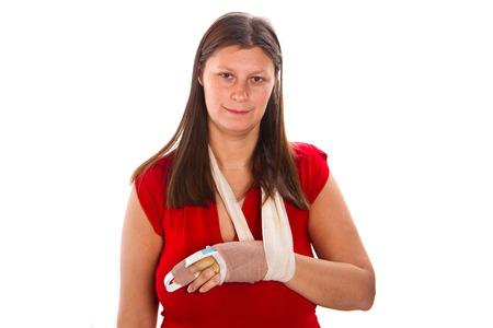 splint: Mujer con un yeso en el dedo