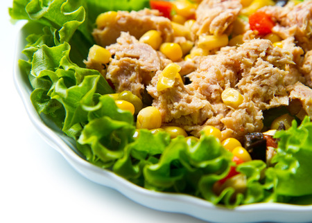 sweetcorn: tuna salad with mais on white shell dish Stock Photo