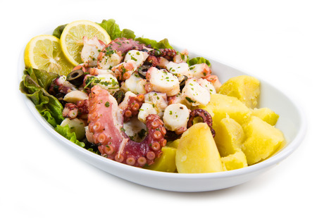 octopus salad with potatoes photo