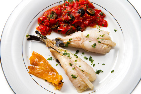 codfish: delicious monkfish with tomatoes sauce, olive and capers