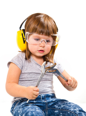 baby girl with working tool Stock Photo - 27684755