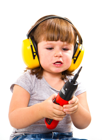 baby girl with working tool  Stock Photo - 27684761