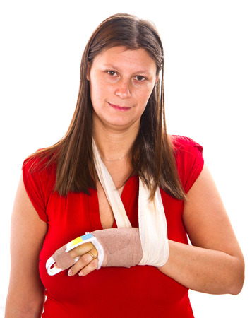Woman  with a cast on finger Stock Photo - 27684362