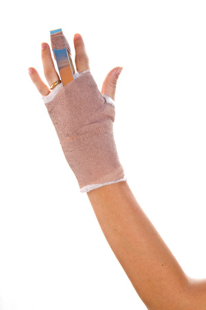 hand with a splint on the middle finger  Stock Photo - 27684370