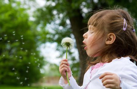 Lovely little blond little girl blowing a dandelion photo
