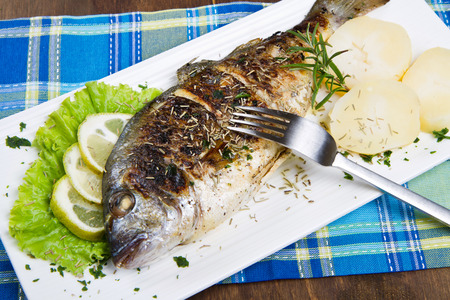 gilt head: Grilled gilt head sea bream on plate with lemon and rosemary and potatoes.