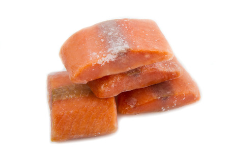 Frozen meat: Frozen salmon steaks Stock Photo