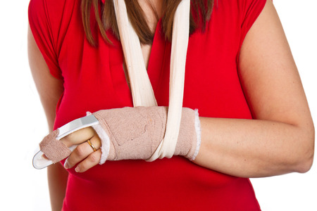 splint: hand with a splint on the middle finger