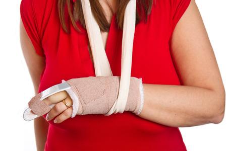 splint: mano con una férula en el dedo medio Foto de archivo