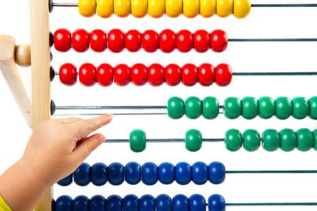jardin de infantes: �baco colorido del juguete para aprender el conteo Foto de archivo