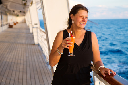 luxury liner: Happy woman on cruise ship