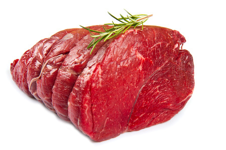 butchered: huge red meat chunk isolated over white background