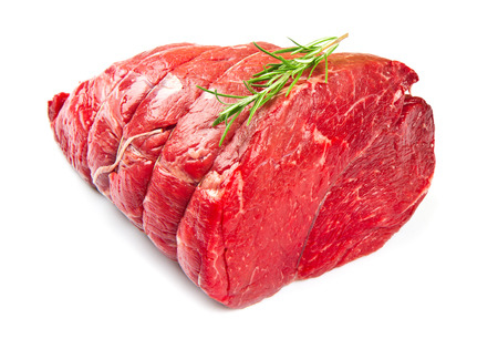 grilled meat: huge red meat chunk isolated over white background  Stock Photo