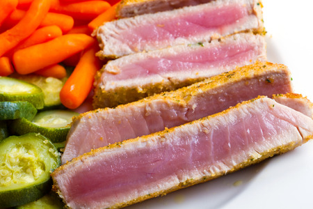 Tuna fillet with vegetables photo