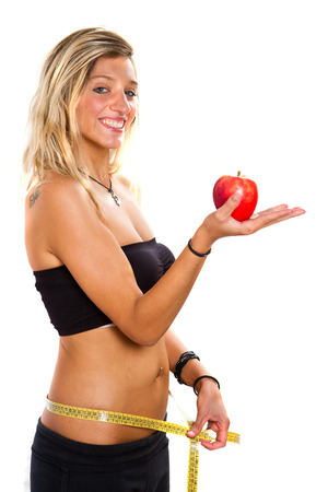 s stomach: Beautiful healthy young woman Isolated on white background. Stock Photo