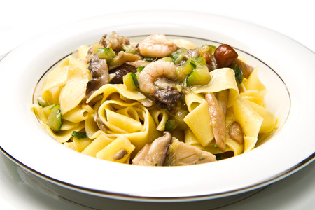white dish with Shrimp and Mushroom Pasta photo