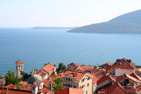 Beautiful landscape with mediterranean town in Montenegro photo